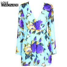 Buy Love&Lemonade green V-neck chiffon flower print playsuit Jumpsuits TB 6806 for $24.99 in AliExpress store