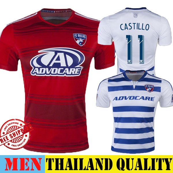 New FC Dallas Soccer Jersey 2015 Home Red Dallas Burn Jersey 15 16 Away White 11 CASTILLO Football Shirt MLS Training Uniform(China (Mainland))