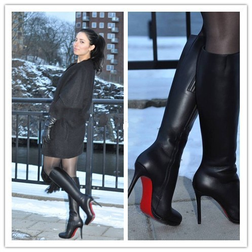 Knee High Boots Woman T Show Party Booties Red Sole Genuine leather Thin high heels Black Boots Fashion Motorcycle Boots Zipper<br><br>Aliexpress