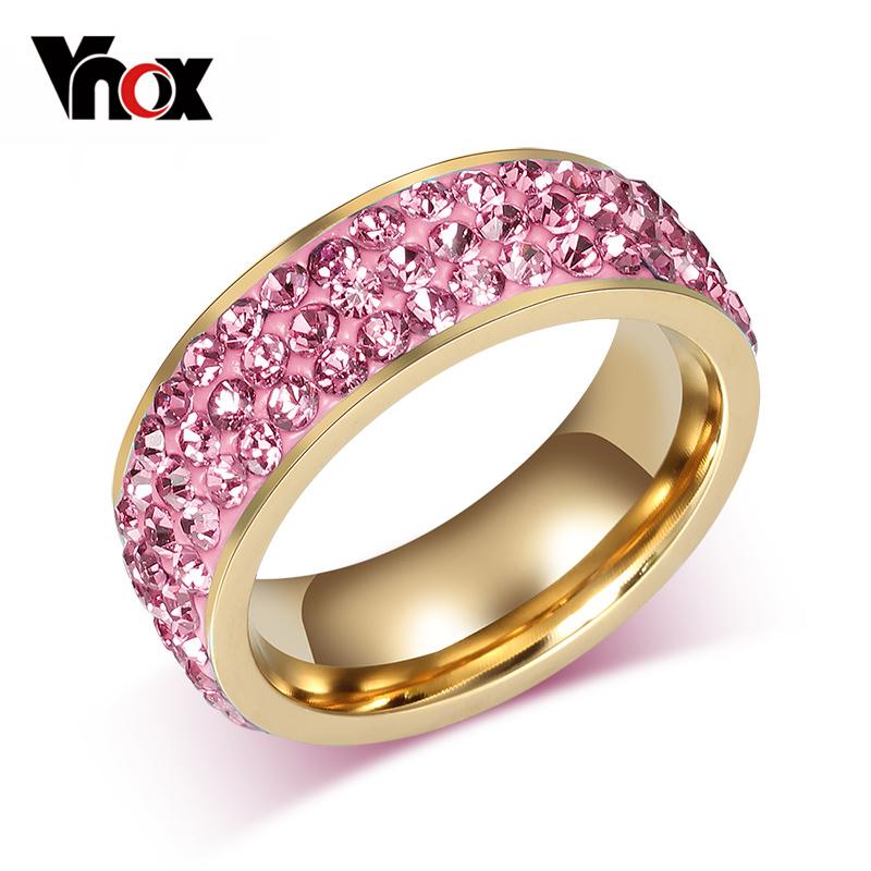 Vnox Vintage Wedding Rings Women Stainless Steel 3 Row Crystal Cubic Zirconia Girl Jewelry