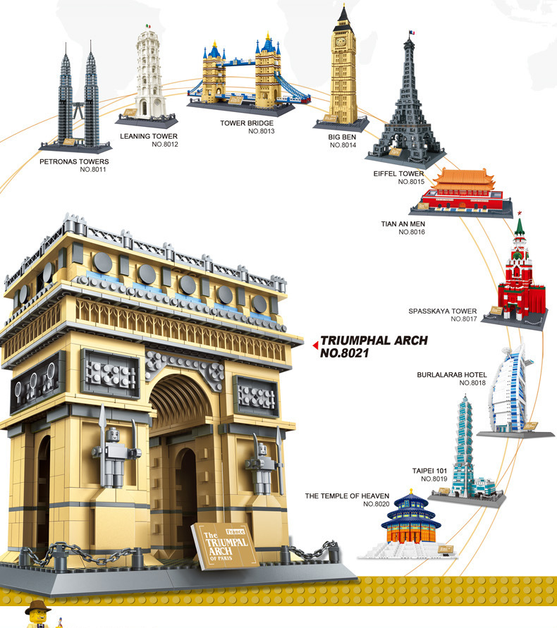 Wange Building Blocks World's Great Architecture Tower Assembling Hot Toys Children Gift Model Kits Christmas - C&T store