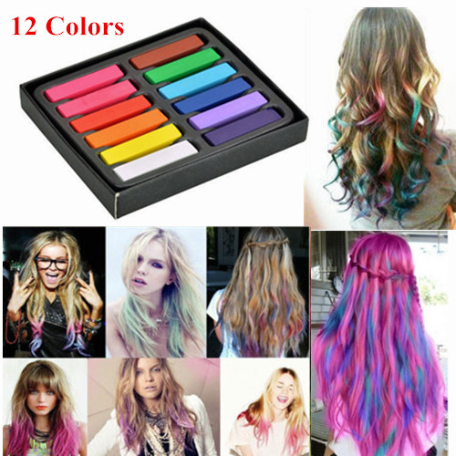 12 Color Hair Dye Easy Temporary Colors Non-toxic Hair Chalk Soft Pastels Kit Hair Color Crayons for Hair(China (Mainland))