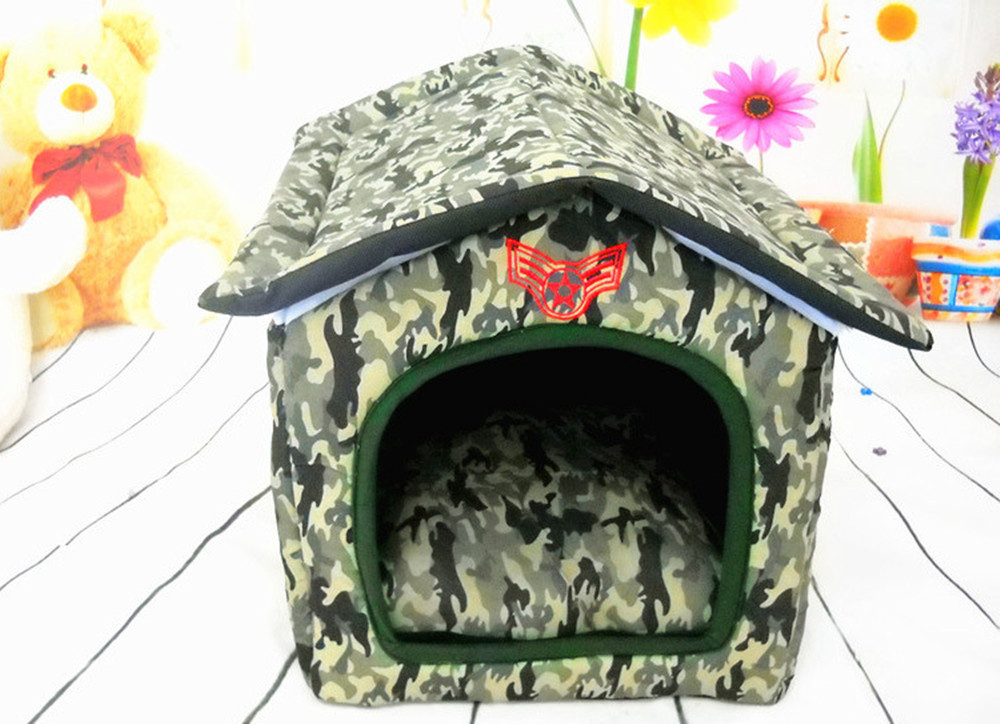 Foldable Camouflage Pets Soft Warm Kennel Dogs Cats Bed Home Shape(China (Mainland))