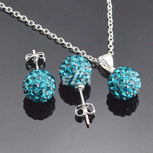 Jewelry set women's fashion necklace earrings silver peacock rhinestone wholesale shamballa sets for women