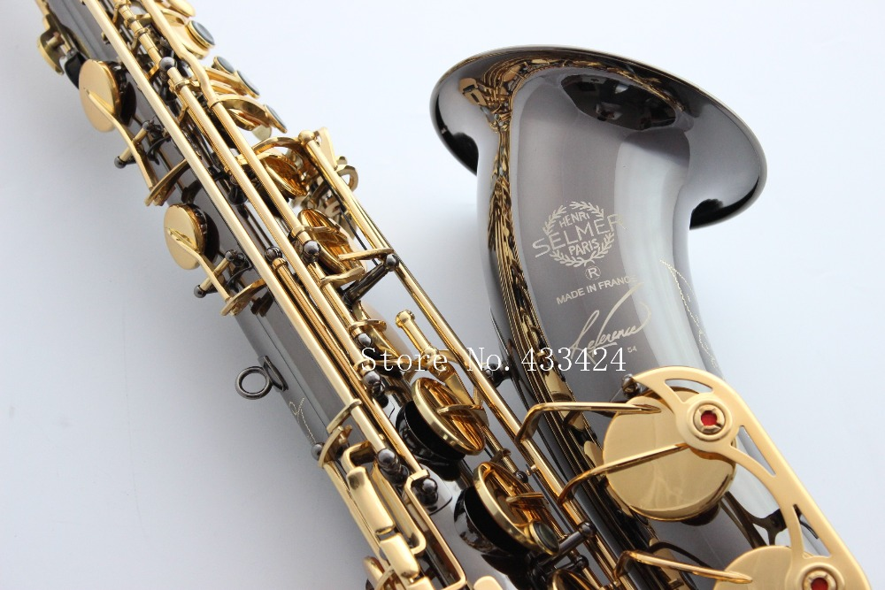 French Selmer 54 B Tenor Saxophone Top Musical Instrument Saxe Wear-resistant Black Nickel Plated Gold Professional Sax - boler hu's store
