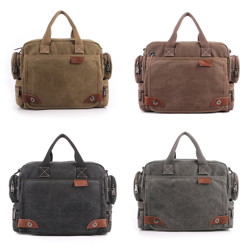 Hot Brand Leather Canvas Men Travel Bags Fashion Business Men Shoulder Bags Leisure Laptop Solid Men
