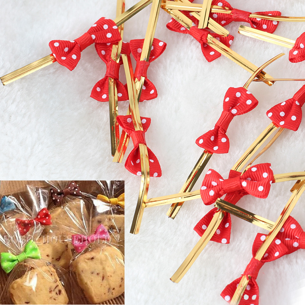 40x Gold Tone Foil Dot Bowknot Metallic Twist Ties Polka Dot Ties Wire for Bakery Candy Bag Gifts Wrapping DIY Decoration(China (Mainland))