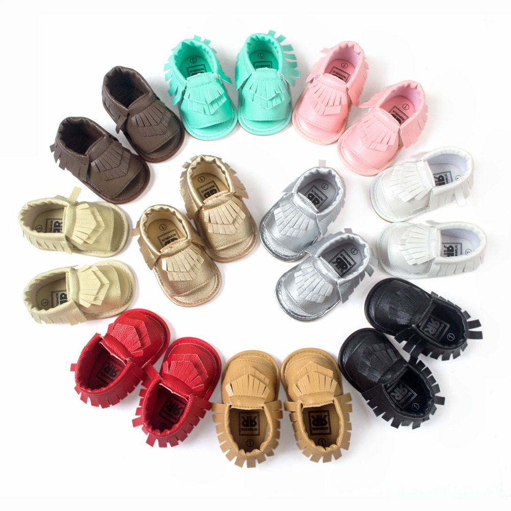 Zapatillas Real Rushed Solid 2016 Summer Pu Newborn Girl Moccasins Soft Shoes for Bebe Fringe Soled Non-slip Footwear Crib Shoe(China (Mainland))