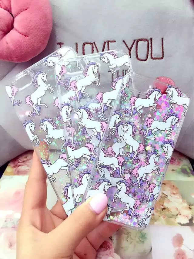 New Dynamic Liquid Glitter Quicksand Star Case Unicorn Phone Back Cover For iphone 5 5c 5s