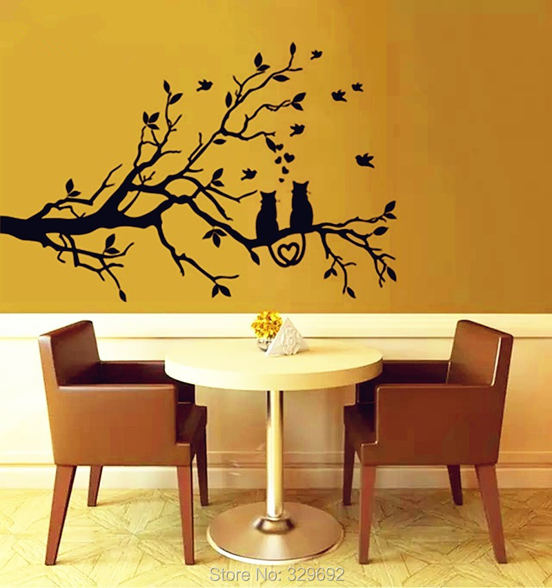 2016 New Two Love Cats Crouched On The Branches Birds And Tree Wall Stickers Vinyl 3d Wall Decals Wall Stickers Home Decor DIY(China (Mainland))