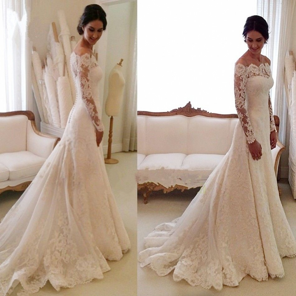 2016 Lace Long Sleeve Bridal Gowns A-Line Cheap Simple Custom Made Wedding Dresses(China (Mainland))