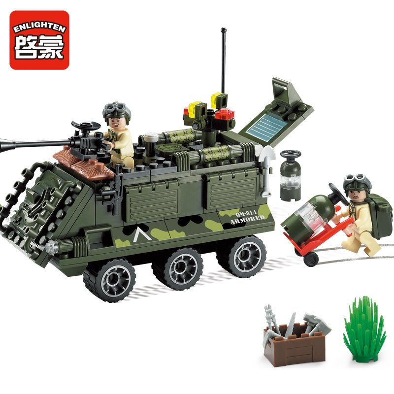 Enlighten 814 167pcs building block sets bricks blocks eductional blocks for children toys Armored car compatible with big brand(China (Mainland))