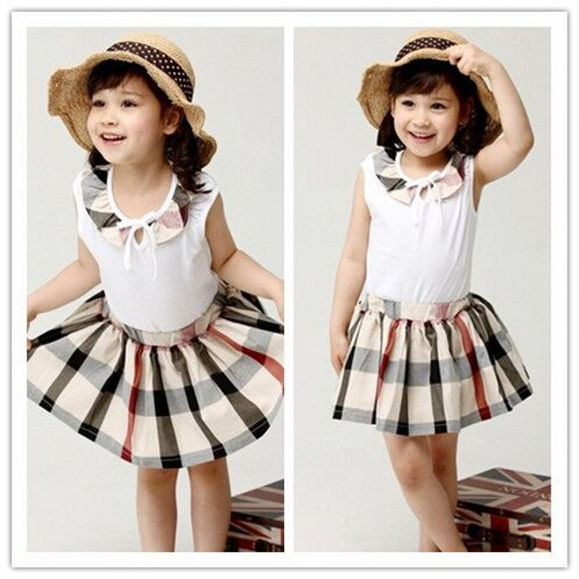 DHL EMS Free shipping Girls Toddlers summer Checker 2pc Suit set cotton outfit T Shirt + Skirt Plaid Suit Children Suit<br><br>Aliexpress