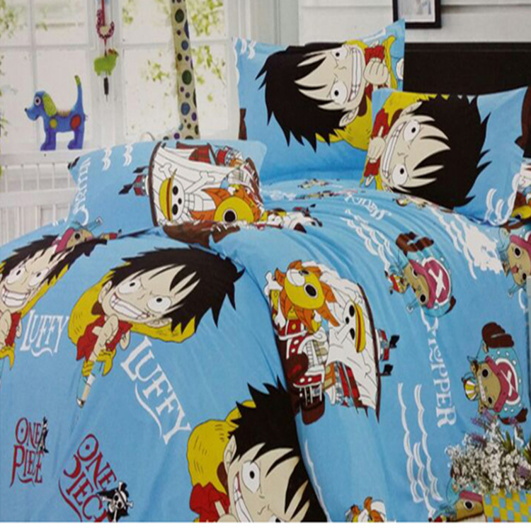 New cotton kids children cartoon bed set without filler twin/full/queen size anime one piece Luffy bedding set 3/4pcs(China (Mainland))