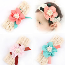 Baby  Headband Lovely Baby Princess Style Oversized Flower Bow Lace Headband Headwear Hair Wide Band Girl Infant Toddler  w–076