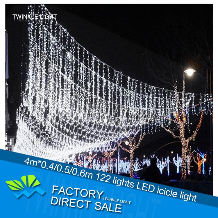 LED icicle curtain string light 220V 4m*0.4/0.5/0.6m 122 LED party stage decorative light holiday Christmas light free shipping(China (Mainland))