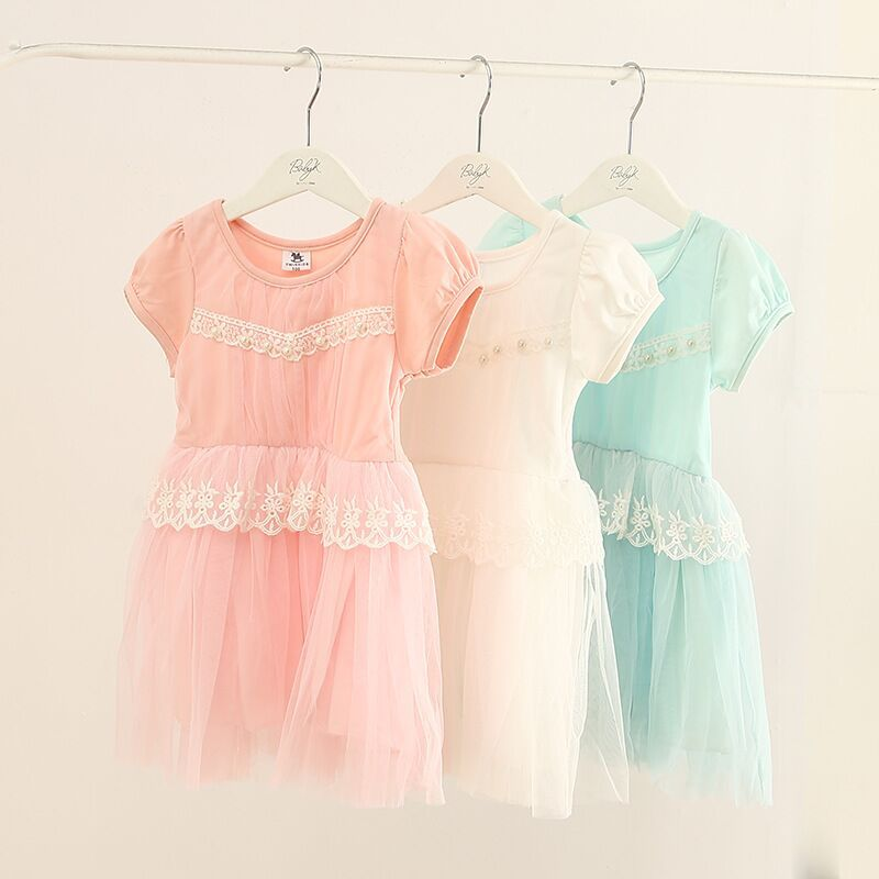 New! Summer Child girl Soft Short Sleeve Baby Dress Cotton Casual Children Girl Kids - Only for Fashion &Special store