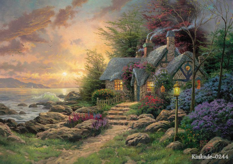 Thomas Kinkade Seaside Hideaway pictures on the wall Printmaking painted wall designs wall panel art chinese oil paint(China (Mainland))
