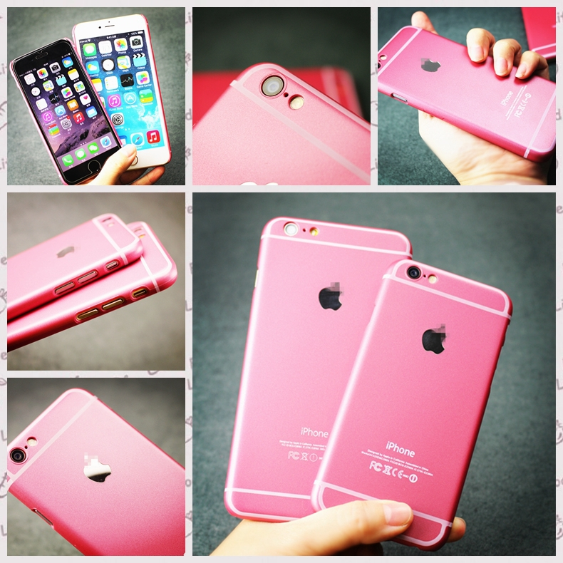 free shipping limit edition pink colour phone case Ultra Thin hard back Skin Case Cover for iPhone 6 4.7 &5.5 inch 1622/16P22(China (Mainland))