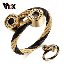 Vnox Bracelet and Ring Jewelry Sets for Women Stainless Steel Wire Adjustable Size(China (Mainland))