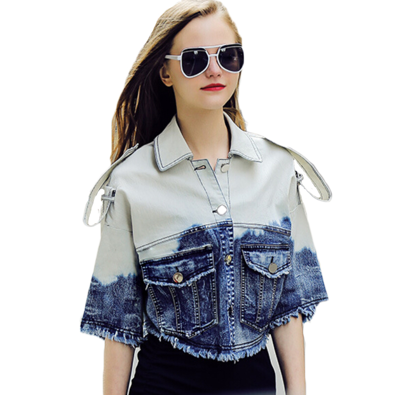 2015 New Fashion Ladies Jean Jacket Females Outwear Europe And American Edition Loose Gradient Cowboy Women Denim Jacket Coat 9(China (Mainland))