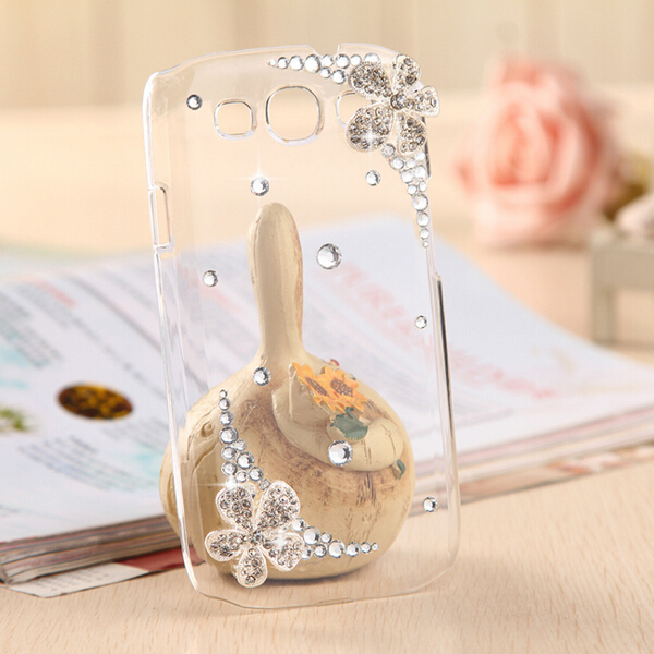 New 3D Flower Handmade Crystal bling cover Mobile phone cases For Samsung Galaxy S3 I9300 case Free shipping(China (Mainland))