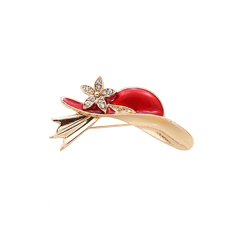 Fashion Women Cute Gold Plated Stone Set Red Hat Enamel Metal Brooch(China (Mainland))