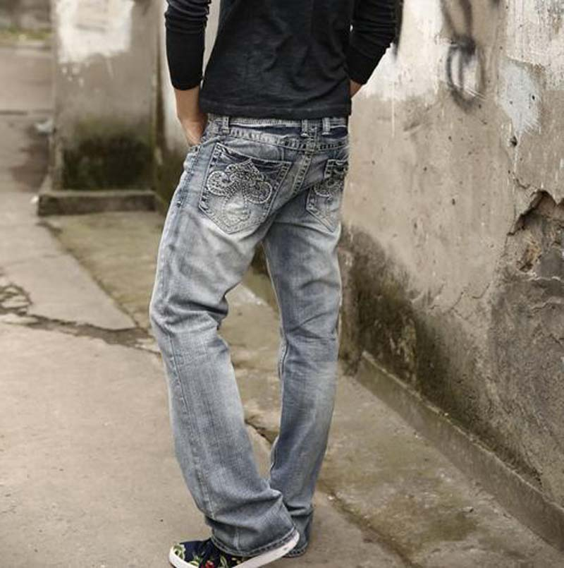 2016 fashion new style Light blue male jeans back pocket embroidered semi flared trousers loose ...
