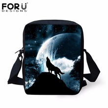 Brand Designer Wolf Husky Dog Cat Head Printed Men Messenger Bags 3D Animals Wolf Panda Owl Horse Crossbody Bag Men's Travel Bag(China (Mainland))