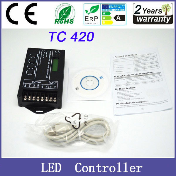 LED Time Dimmer RGB Controller TC420 DC12V/24V 5Channel Total Output 20A Common Anode Programmable Free Shipping(China (Mainland))