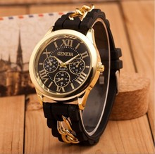 Fashion GENEVA Women Watch Luxury Brand Quartz Casual Gold Chain Ladies Wristwatch Relogio Feminino Roman Numerals Dress Watch