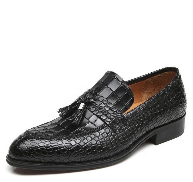 Новых людей прибытия квартиры класса люкс, крокодил натуральная кожа Оксфорд обувь для мужчин итальянский стиль скольжения на платье обувь