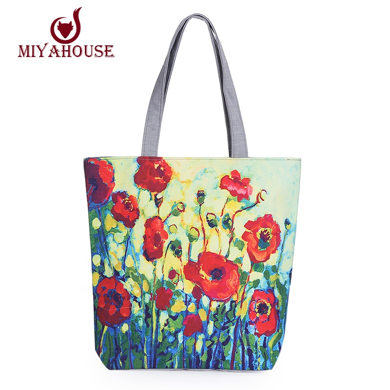 New Arrival Floral Printed Canvas Tote Female Single Shopping Bags Large Capacity Women Canvas Beach Bags Casual Tote Feminina(China (Mainland))