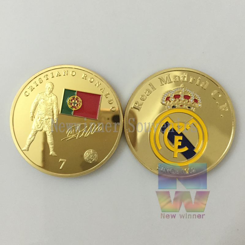 European Cup Player Number 7 Soccer Fans Gift Collection 1902 Portugal football star souvenir gold coins(China (Mainland))
