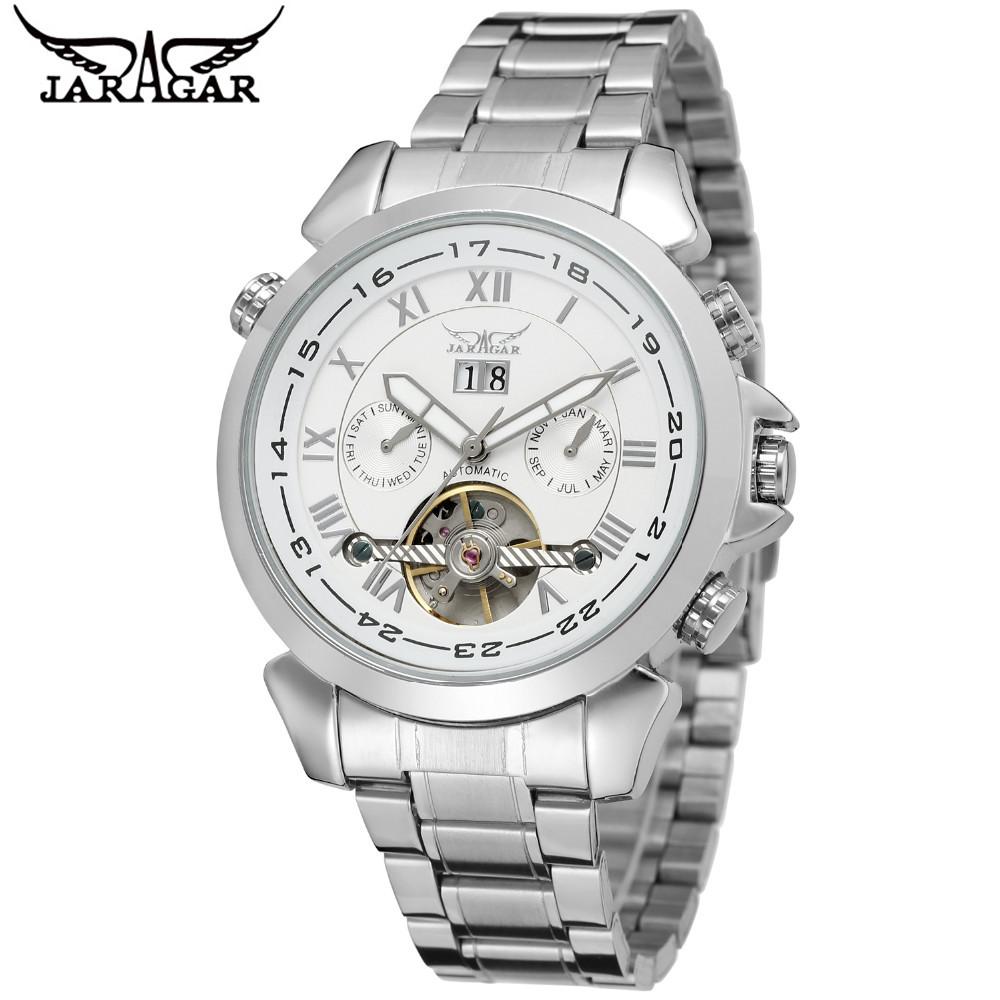 JARAGAR Men's Relogio Masculino Day/Week/Month Tourbillon Auto Mechanical Wristwatch Gift Box Free Ship(China (Mainland))