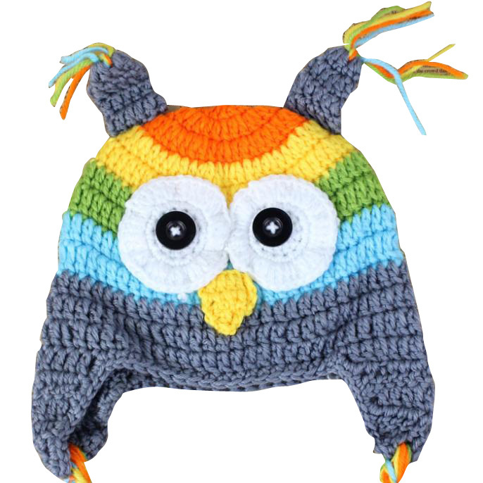 2015 New Baby Toddler Kids Owl Pattern Knitted Crochet Hat Unisex Beanie Warming Earflap Hat For Photo Prop Costume 1-2 Years(China (Mainland))