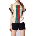 Imitation Satin Colored Striped T shirt Women Tops Tees 2016 Summer Clothing Print Retro T shirt