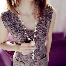 Flower Long Necklace for Women Fashion Simulated Pearl Jewelry Korean Tassel Perlas Necklaces & Pendants Bijoux Femme Perle(China (Mainland))
