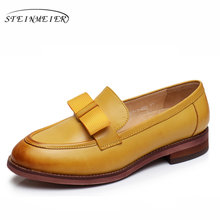 Echte schapenvacht lederen designer vintage yinzo dames flats schoenen handgemaakte geel rood blauw oxford schoenen voor vrouwen 2018 winter(China)