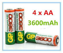 Brand New 2016 0riginal 4pcs/Lot GP 1.2V NiMh AA 3600 mAh Battery Rechargeable AA Batteries pilas recargables free shipping