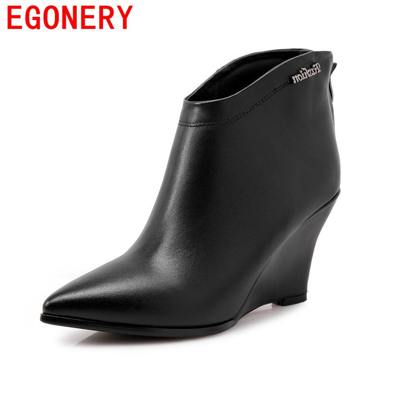 Фотография 2017 EGONERY pointed toe sexy wedges heels ankle shoes women boots autumn and winter side zipperplain soft leather solid boots