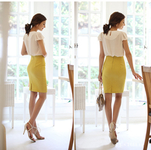 2015 new hot sale Women Slim Retro Casual High Waist Bag Hip Knee Length Office Lady Pencil Skirt 5 Colors 5031(China (Mainland))
