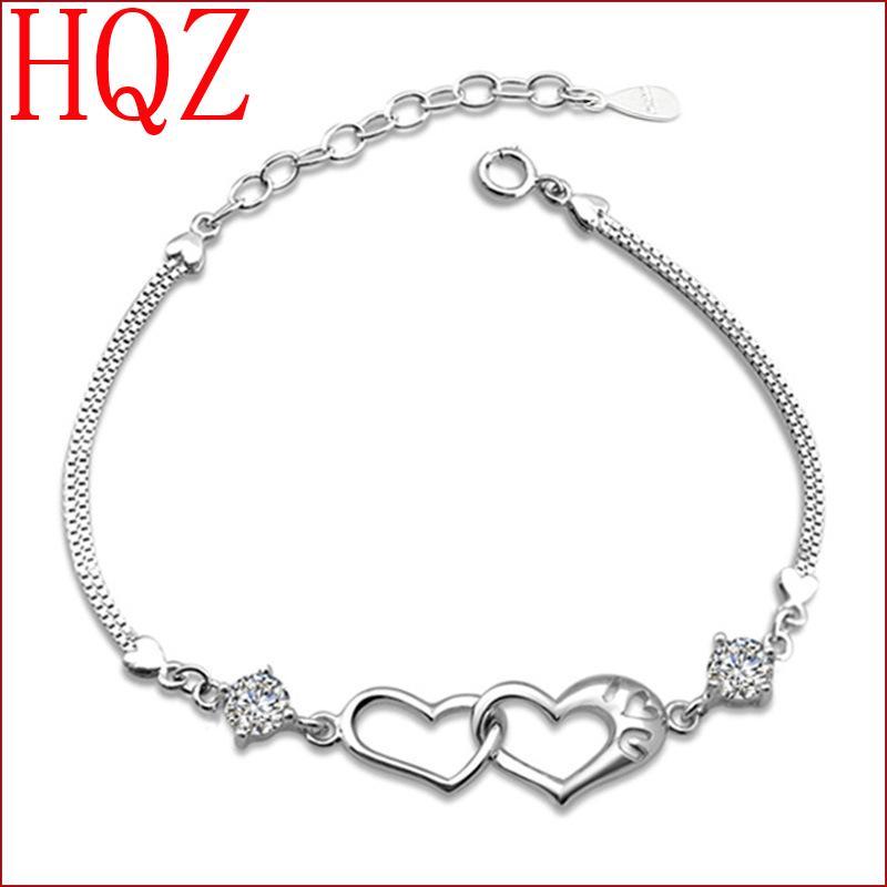 2016 New 925 Sterling Bracelet Silver female senior jewelry wholesale Vintage heart-shaped Bracelet(China (Mainland))