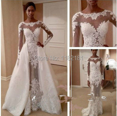 Popular detachable wedding dress train buy cheap for Wedding dress detachable sleeves