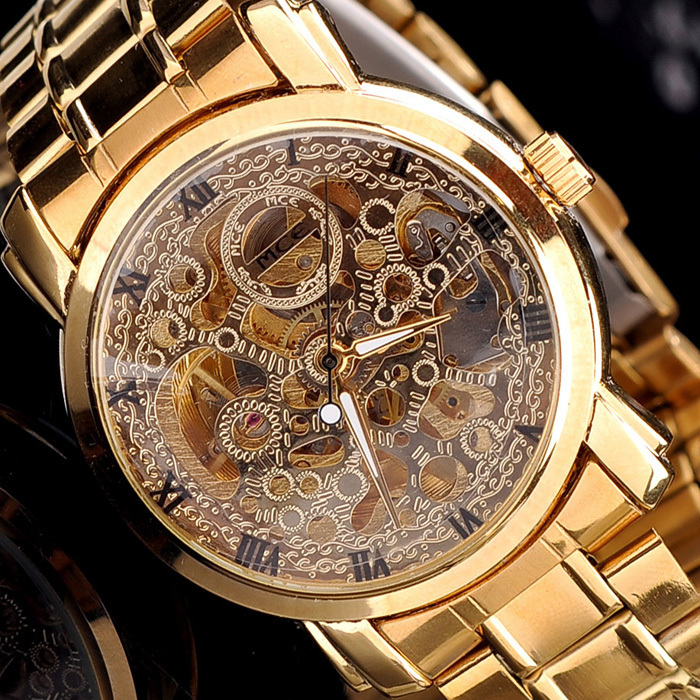 New Fashion 2015 Men Wristwatch Luxury Famous Brand Quality Casual Business Watch Mechanical Design Steel Watches Gold Watch(China (Mainland))