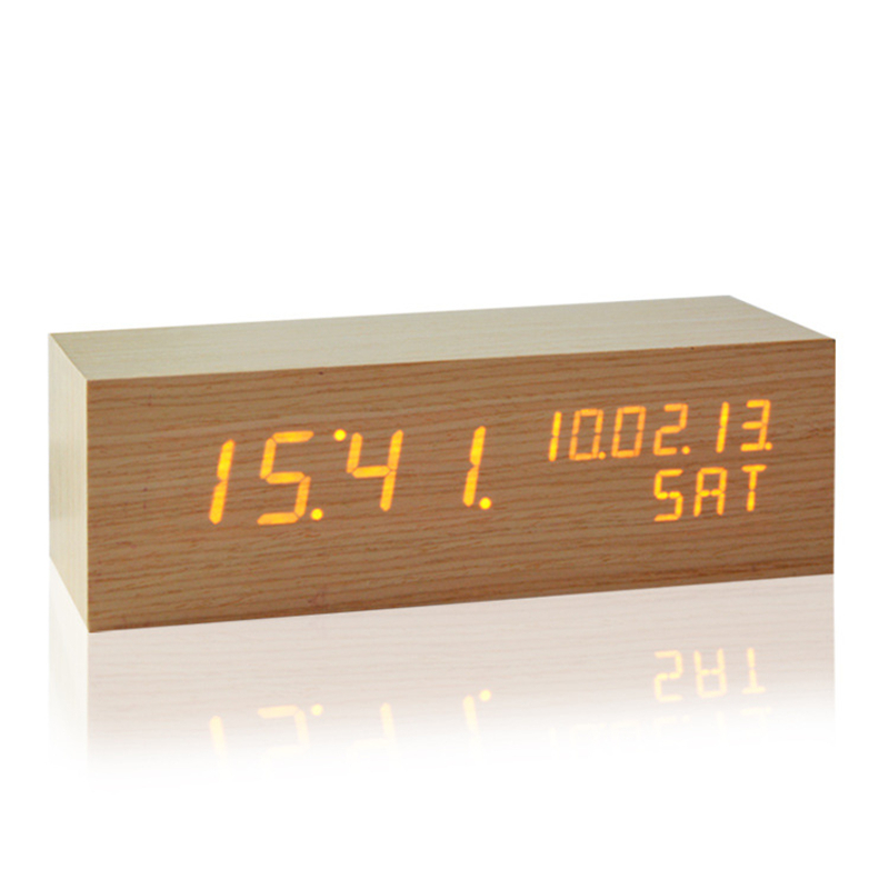 Intelligence Remote Control Thermometer Wooden Led Clock