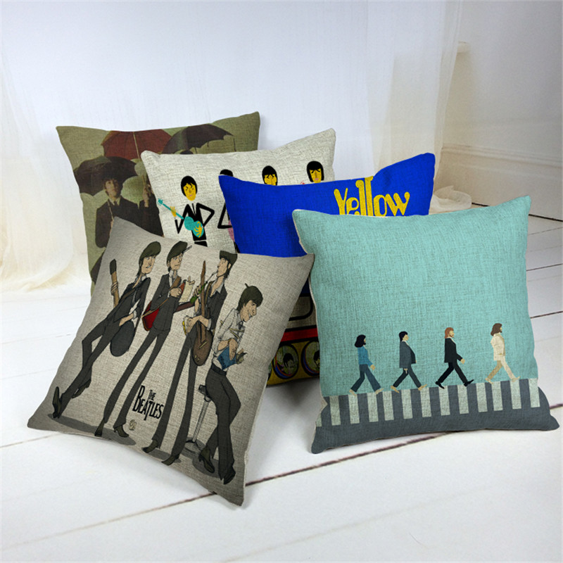 Portrait Style Fashion Home Decor Cushion Pillows Beatles Printed Car Home Decorative Throw Pillows Fashion Cushions Cojines(China (Mainland))