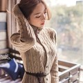free shipping 2016 new Korean womens new thick winter coat women long knitted sweater dresses with