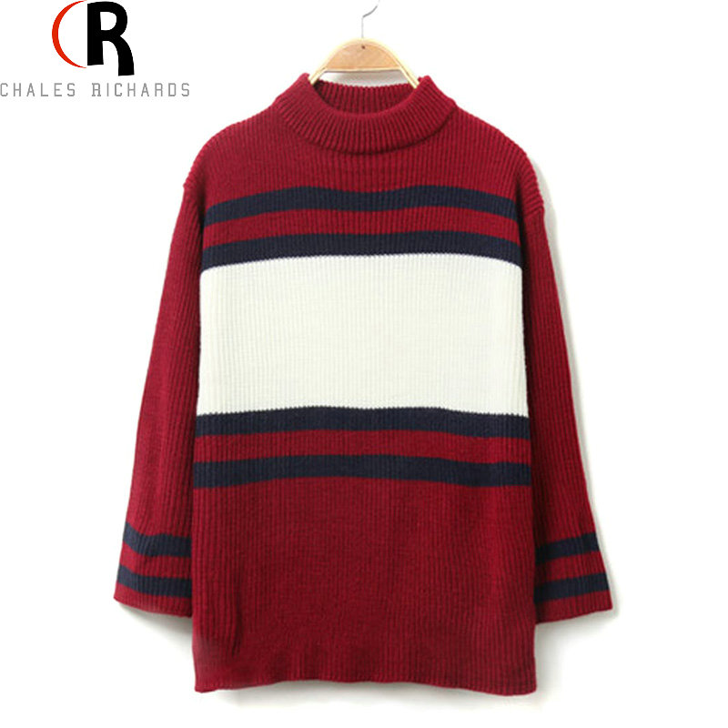 2 Colors Striped Turtleneck Longline Knitted Sweater Long Sleeve Casual Loose Oversized Top 2016 Winter Spring Women Pullover(China (Mainland))
