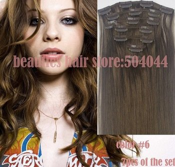 """free shipping 16""""-28"""" 7pcs set 100% indian remy hair clips in human hair extensions #6 70g 80g 100g 120g 140g"""